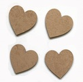 Heart taupe magnets pack of four